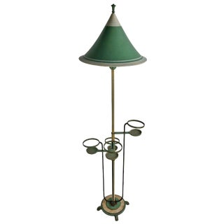 Unusual Art Deco Floor Lamp in Aluminum Brass and Iron Circa Late 1920s For Sale