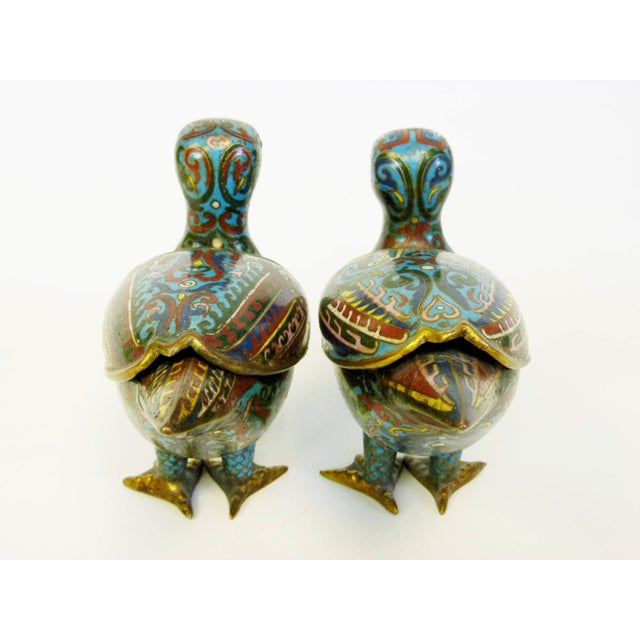 Antique Chinese Cloisonne Duck Censors - Pair - Image 5 of 10