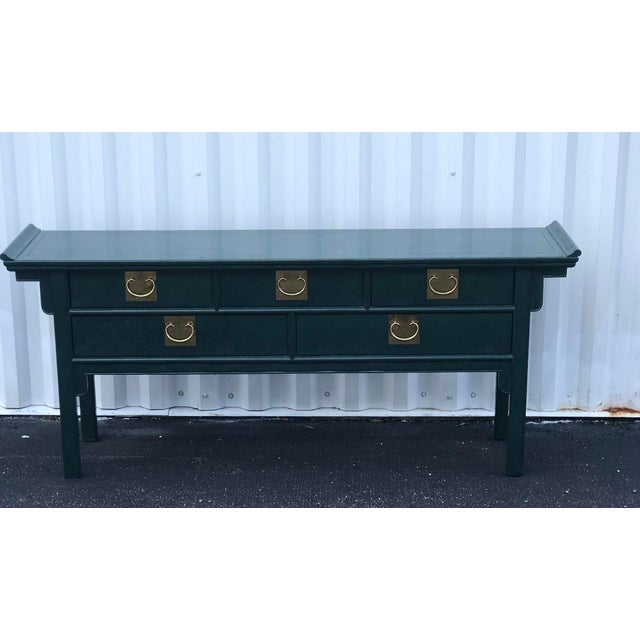 Century Furniture Lacquered Green Malachite Pagoda Console For Sale - Image 12 of 12