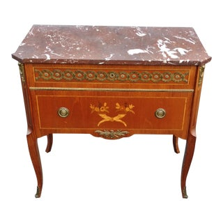 19th Century French Bronze Inlaid Marble Top Commode For Sale