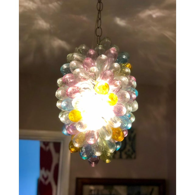 Soft Candy Colored Balloon Shape Light Fixture of Recycled Handblown Glass For Sale - Image 10 of 12