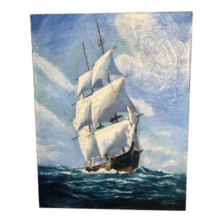 Early 20th Century Nautical Seascape Oil Painting Signed T. Bailey For Sale