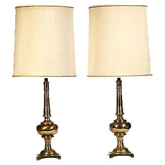 1960s Stiffel Brass Table Lamps - A Pair For Sale