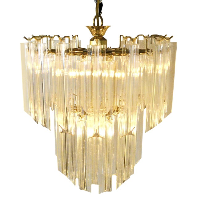 Mid Century Modern Lucite and Brass Waterfall Chandelier - Image 1 of 7