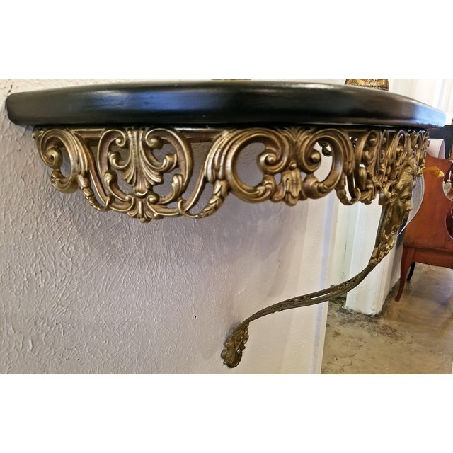Early 20c French Art Nouveau Style Brass Wall Bracket Shelf For Sale - Image 12 of 12