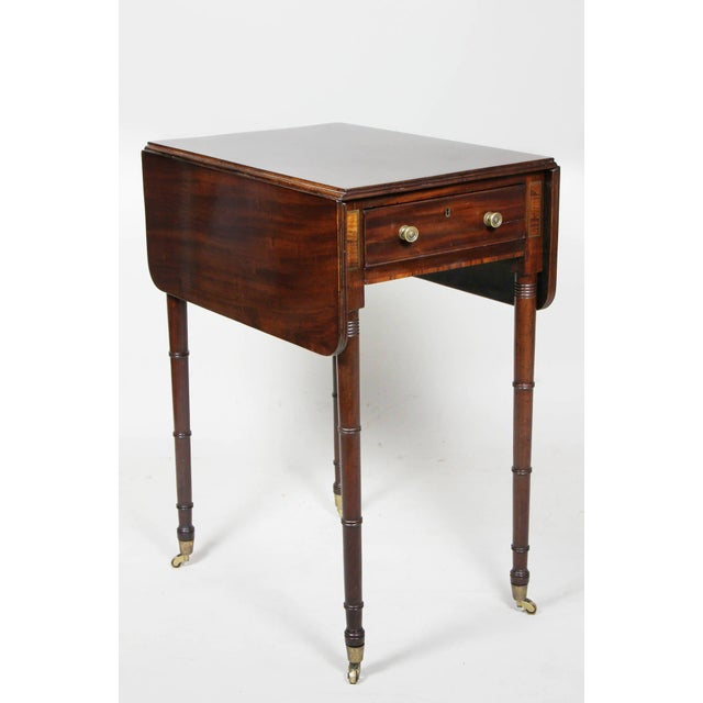 Regency Mahogany And Brass Inlaid Table For Sale - Image 10 of 10