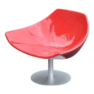 Red Fiberglass Lounge Club Chair Retro Mid Century Modern Vintage Style For Sale