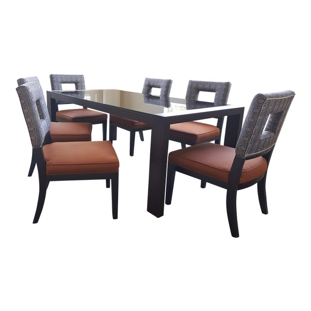 Calligaris Black Glass Dining Table & 6 Dining Chairs - Image 1 of 8