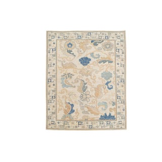 "Transitional Fine Wool Afghani Rug - 6'2""x8'11"" For Sale"