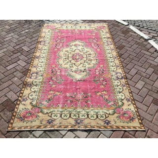 Vintage Hand Knotted Pink Area Rug Preview
