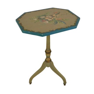 Hand Painted Vintage Federal Style Tilt Top Table With Colorful Birds & Flowers For Sale