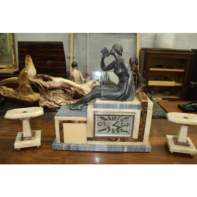 French Art Deco 3-Piece Clock Garniture, Marble with Woman Sitting, Circa 1940s For Sale - Image 9 of 11