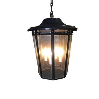 Large Modern 4 Light Lantern Chandelier W/ Acid Bronze Patina For Sale