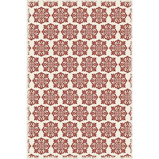 Red & White Modern European Design Rug - 4' X 6'