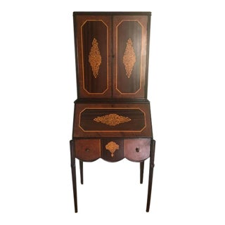 19th Century Antique Burl Hutch Desk With Inlay For Sale