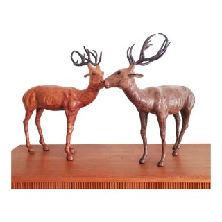 Large Leather Deer / Harts Sculptures - a Pair For Sale