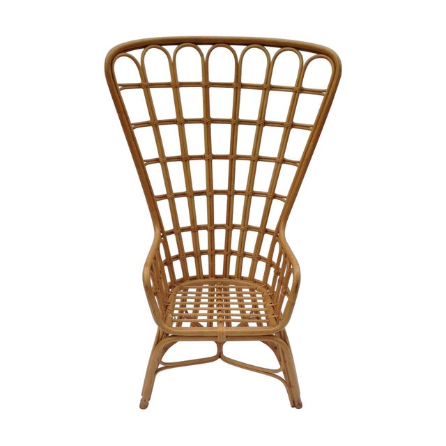 Franco Albini Inspired Wicker Chair For Sale