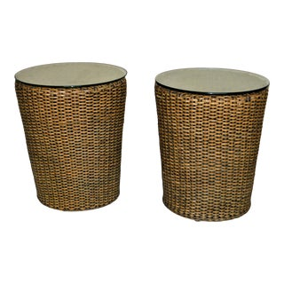 Rattan Drum Style Side Tables With Glass Top - a Pair For Sale