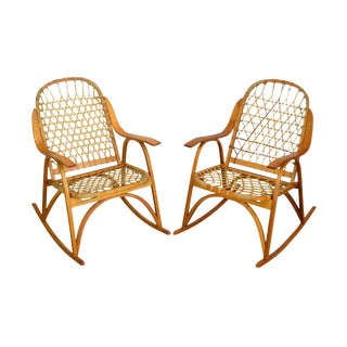 "Snowcraft Bentwood Hickory and Rawhide Pair ""Snowshoe"" Rockers Rocking Chairs (A) For Sale"