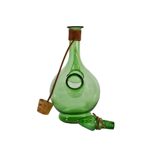 Vintage Hand Blown Italian Green Glass Wine Decanter Carafe With Ice Chamber Chiller and Stoppers For Sale - Image 4 of 7