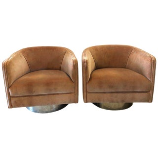 Milo Baughman Tyler Coughlin Swivel Chairs For Sale