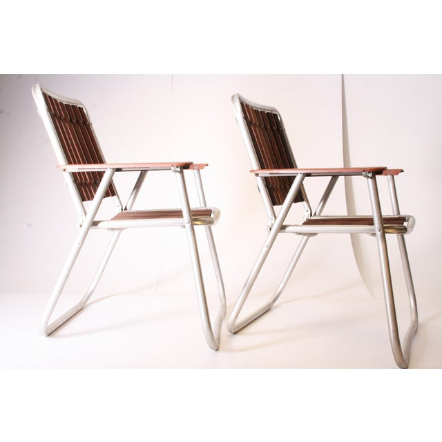 Mid Century Redwood Aluminum Folding Patio Chairs - A Pair For Sale - Image 5 of 11