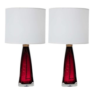 Red Orrefors Crystal Lamps - A Pair For Sale
