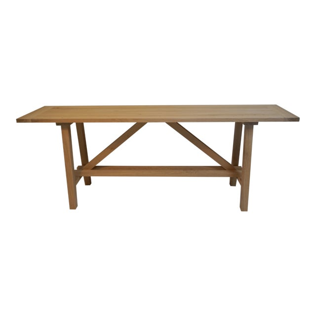 Bohemian Works Natural Wood Extra Long Console Table For Sale