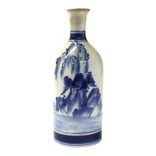 Arita Tokkuri Japanese Antique Ceramic Sake Bottle For Sale