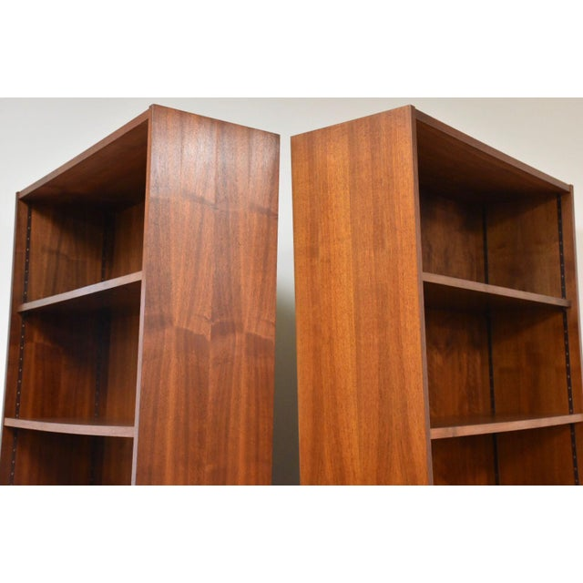 Walnut Large Walnut Bookcases- A Pair For Sale - Image 7 of 10