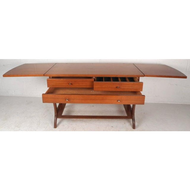Walnut RWAY Mid-Century Modern Drop-Leaf Console Table For Sale - Image 7 of 11