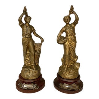 Pair Antique French Spelter Statues by Ruchot ~ Vendange For Sale