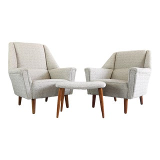 Set of His and Hers Kurt Østervig for Rolschau Møbler Chairs W/ Single Matching Ottoman For Sale