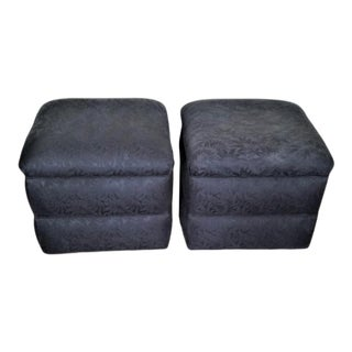 Post-Modern Upholstered Ottomans on Casters - a Pair For Sale
