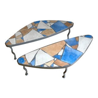 Mid Century Post Modern Italian Tile Mosaic Terrazzo and Steel Biomorphic Amoeba Side Tables Nightstands End Tables - a Pair For Sale