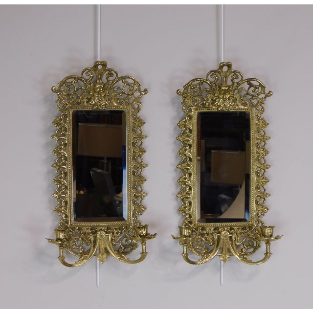 Pair Virginia Metal Crafters Brass Twin Candle Mirrored Sconces, Colonial Williamsburg For Sale - Image 4 of 12