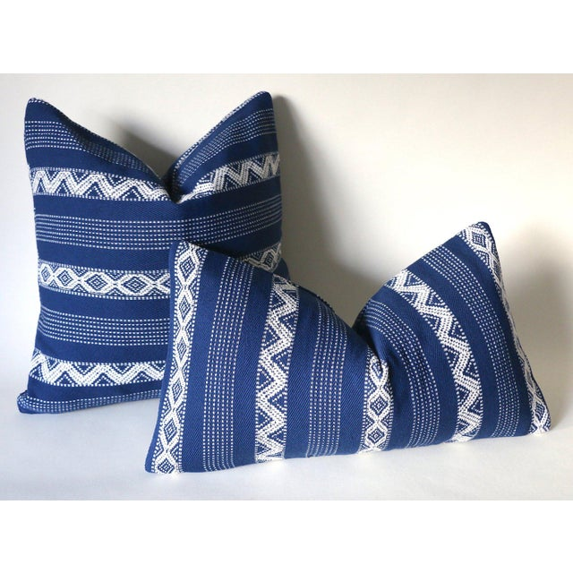 Offered is one Blue & Ivory pillow cover, made from 100% cotton canvas with woven ivory diamonds in stripes. Same fabric...