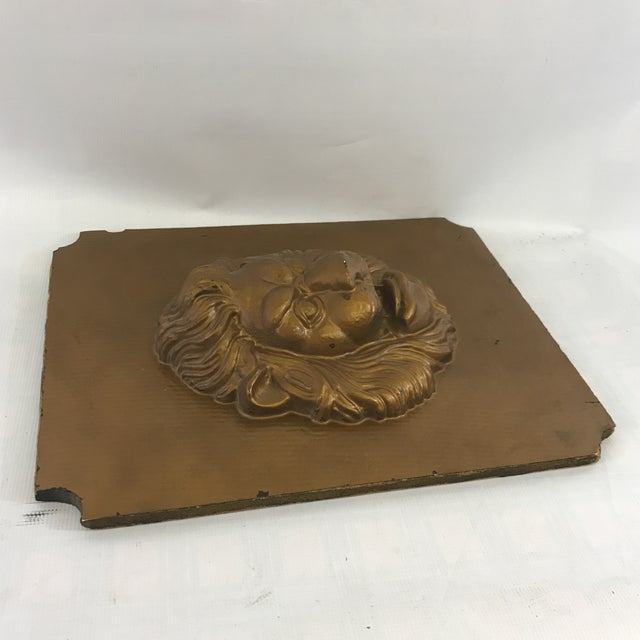 Mid-Century Modern Mid-Century Modern Lion Wall Plaque For Sale - Image 3 of 6