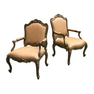 French Gilded Wood Ostrich-Embossed Leather Fauteuils — a Pair For Sale