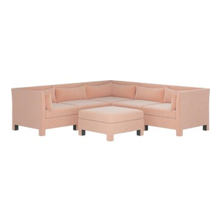 6 Piece Sectional in Titan Pink Champagne For Sale