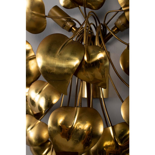 Cascading Leaves Gilt Metal Light Fixture Attributed to Maison Jansen For Sale - Image 9 of 13