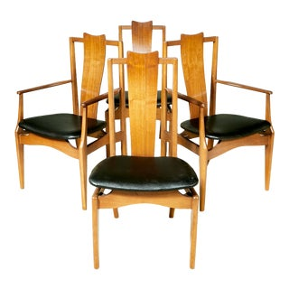 1960s Asian-Style Dining Room Chairs, Set of 4 For Sale
