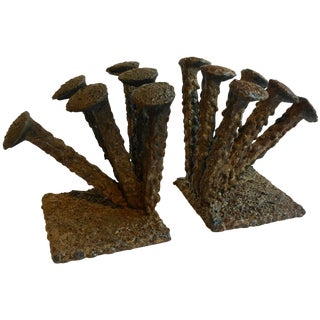 Pair of Folk Art Brutalist Bookends For Sale