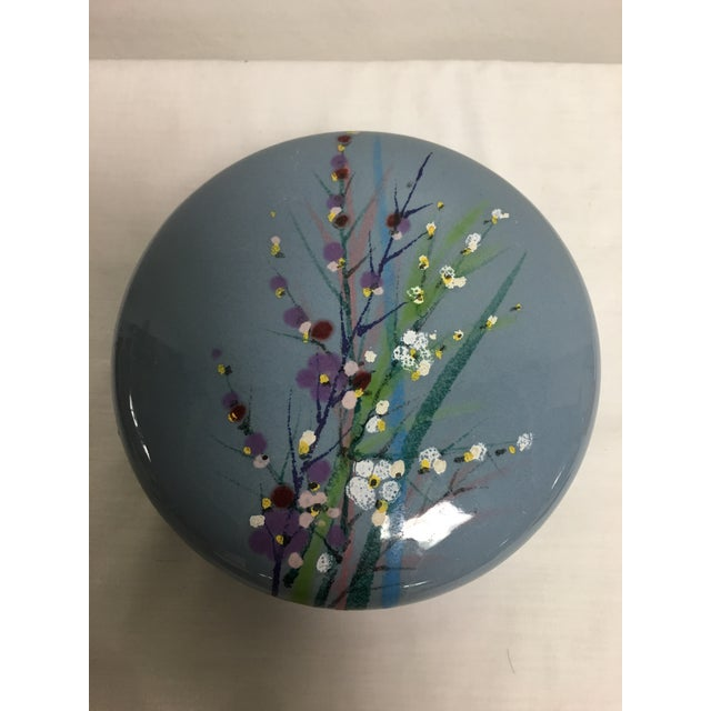 Striking hand painted blue cover jar, circa 1960's. Made in Italy Pristine condition .