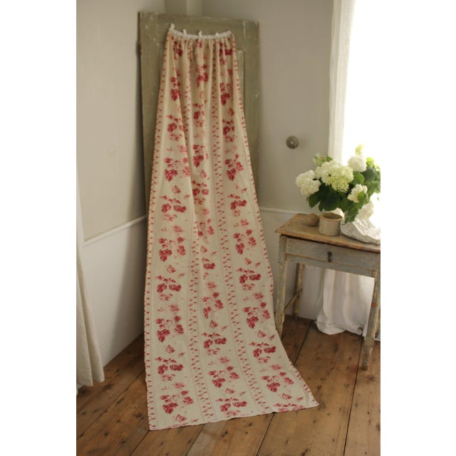 Shabby Chic Faded Floral Drape Curtain For Sale - Image 11 of 11