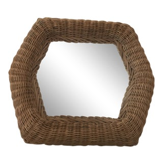 1990s Vintage Hexagon Wicker Mirror For Sale