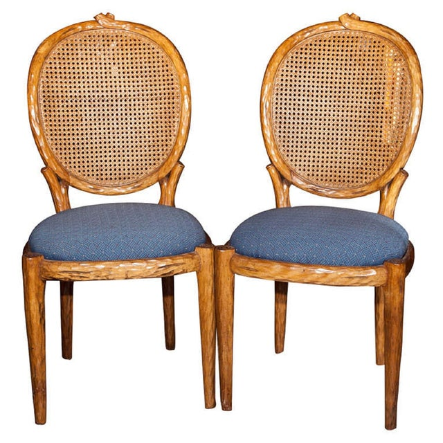 French Louis XIV Style Caned Side Chairs - Pair For Sale