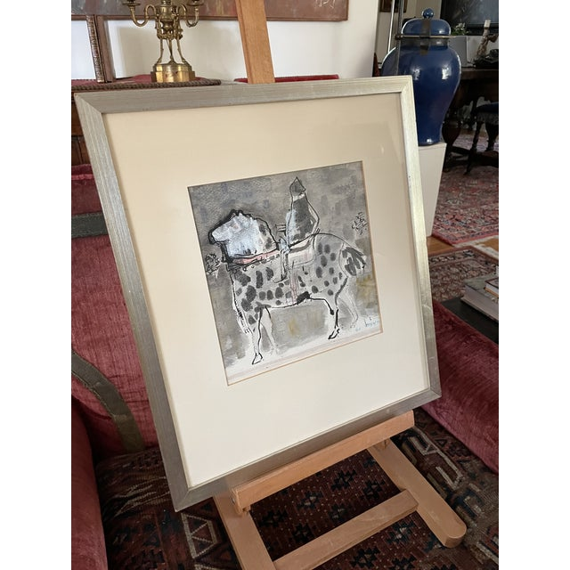 """1960s """"Horse and Rider"""" Modernist Figurative Gouache Painting by Birney Quick, Framed For Sale In Minneapolis - Image 6 of 9"""