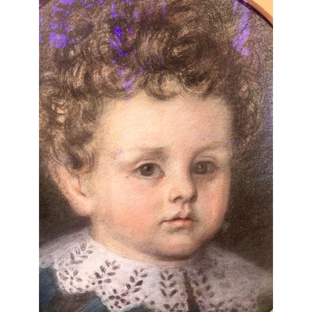 Wood Early 20th Century Antique Pastel Portrait of a Boy Drawing For Sale - Image 7 of 10