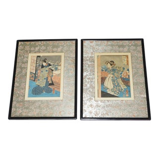 Vintage Japanese Woodblock Prints- Pair For Sale